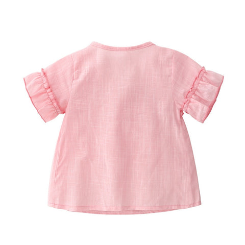 Pink Summer Tops  Paired with Jeans Clothing Set for Babies