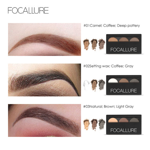3-Color Waterproof  Eyebrow Powder Eye Shadow Make Up Palette - MyShimi.com