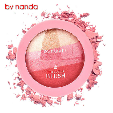 3-Color Natural Baked Blush Makeup Cosmetic - MyShimi.com