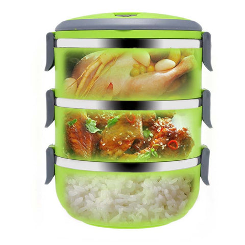 3-Layer Portable Stainless Steel Thermal Food Container for Babies - MyShimi.com