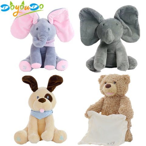 30cm Peek-A-Boo Elephant, Bear & Dog Plush Toys - MyShimi.com