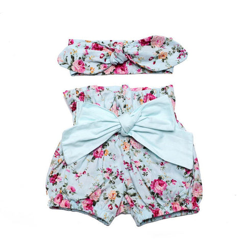 Vintage Floral Ruffle Neck Romper with Bow Knot Shorts and Headband for Baby Girls