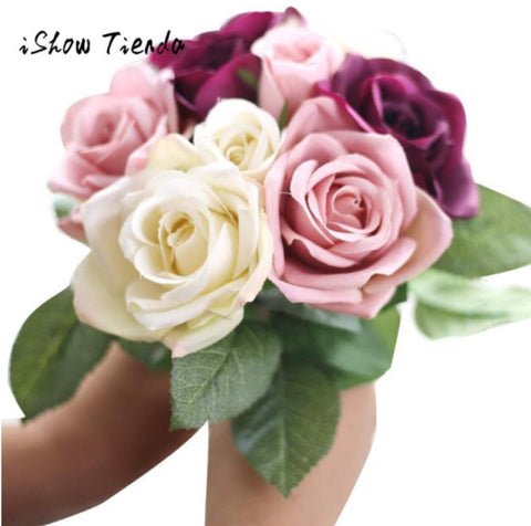9 Heads Artificial Silk Flowers Bouquet for Home Decoration - MyShimi.com