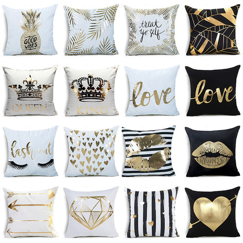 Geometric Print Polyester King and Queen Bronzing Pillow Cases - MyShimi.com