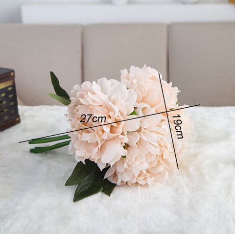 5-Piece European Artificial Bouquet of Peony in Silk - MyShimi.com