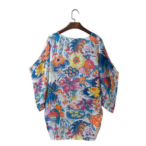 Loose Cardigan Chiffon Floral Print Cover Up - MyShimi.com