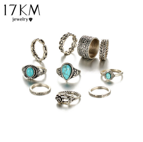 Dual Color Boho  Vintage Flower Knuckle Rings for Women - MyShimi.com