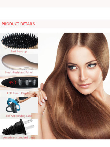 Electric LCD Digital Control Fast Hair Straightening Brush Iron - MyShimi.com