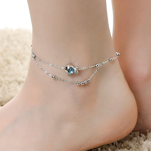 Simple Small Fish Adorned Anklet for Ladies