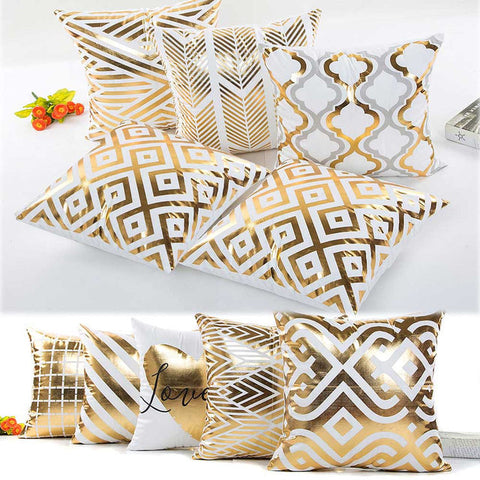 Premium Polyester Plaids in Decorative Bronzing Pillowcases