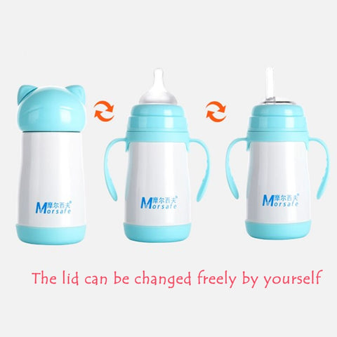 3-in-1 Multifunction Baby Bottle Stainless Steel Thermo Flask - MyShimi.com