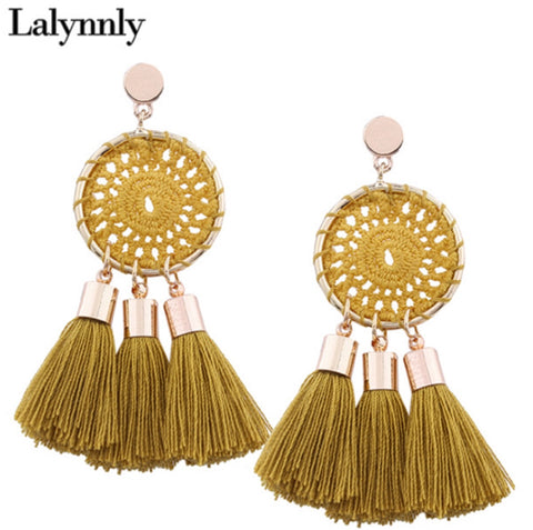 Lalynnly Ethnic Bohemian Handmade Tassel Earrings for Women - MyShimi.com