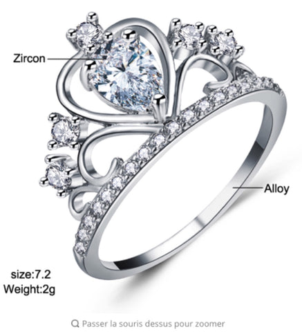 Crystal Heart Crown Ring For Women - MyShimi.com