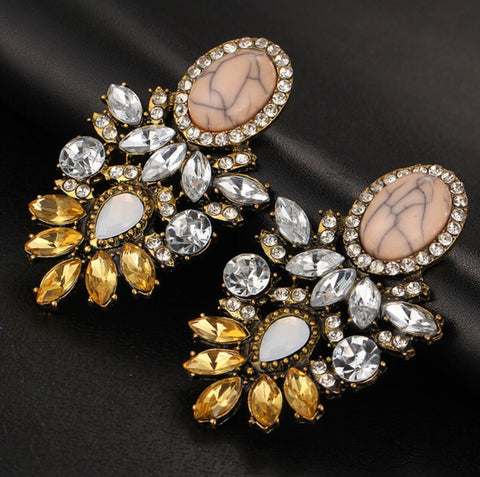 Vintage Big Crystal Flower Drop Statement Earrings for Women