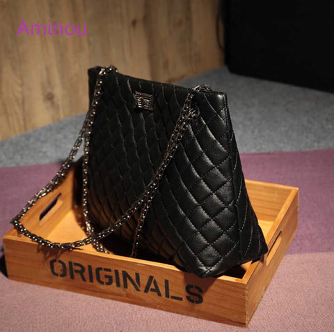 Elite Designer Plaid Leather Bags with Chain  for Women - MyShimi.com