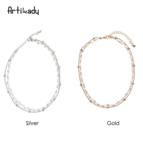2-Layer  Choker Necklace with Opal Stone Beads in Gold or Silver - MyShimi.com