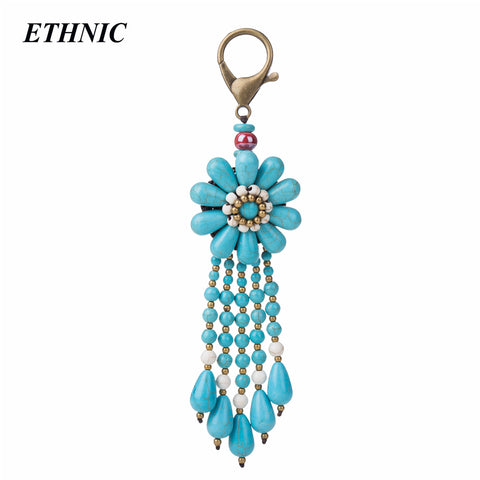 Bohemian Vintage Green Beads Tassel Charm Key Chain for Women - MyShimi.com