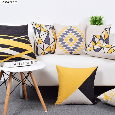 Decorative Cushion Covers in Gray Yellow Geometric Pillows Cases - MyShimi.com