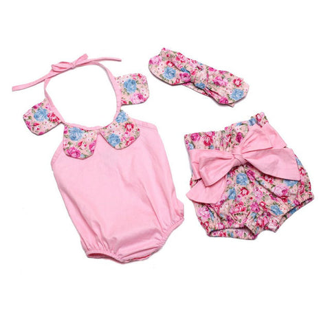 Vintage Floral Ruffle Neck Romper with Bow Knot Shorts and Headband for Baby Girls - MyShimi.com