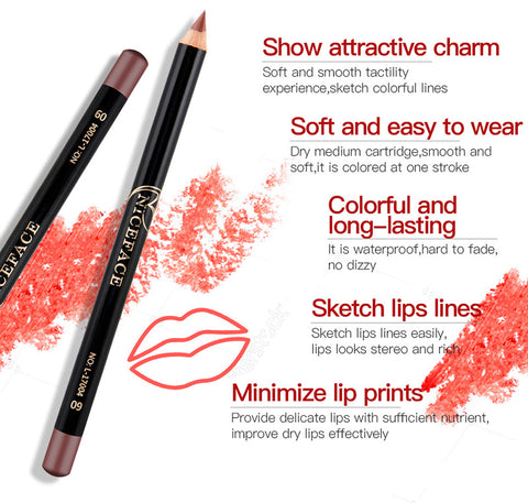 12 Colors Professional Waterproof Contour Lip Liner Pen - MyShimi.com
