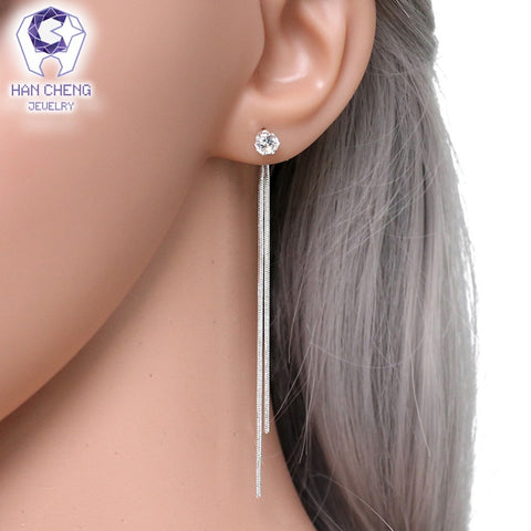 Silver Plated Dangle Hanging Gem  Long Drop Earrings - MyShimi.com