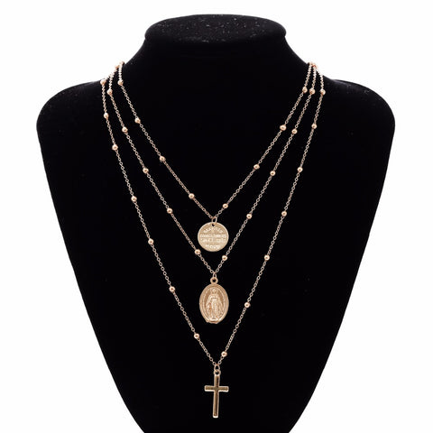 Multi-layer Cross and Virgin Mary Pendant Beaded Chain Christian Necklace - MyShimi.com