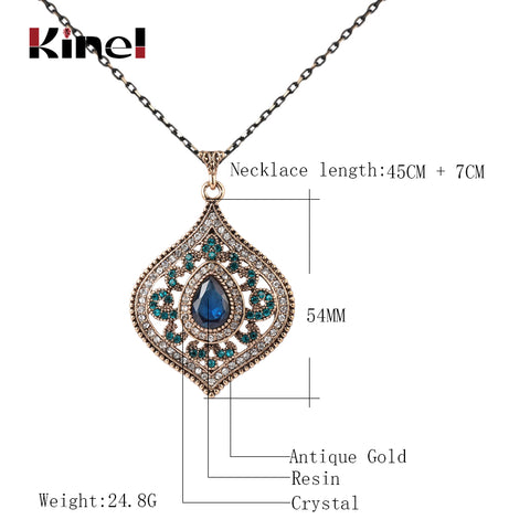 Classic Bohemian Blue Crystal Pendant Necklace for Women - MyShimi.com