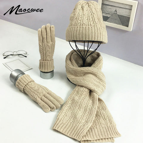 Fashionable Knitted Winter Hat Scarf & Glove Set for Women - MyShimi.com