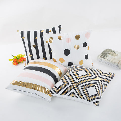 Square Polyester Pillow Cases in Bronze and Gold Print - MyShimi.com