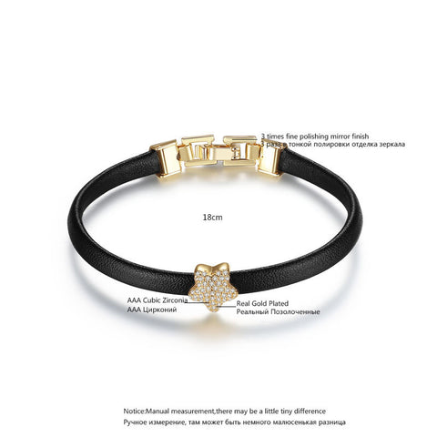 Leather Link Charm Bracelet with  Zircon Star - MyShimi.com