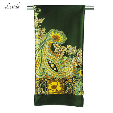 Vintage Square Silk Scarf in Floral Print for Women