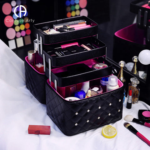 Professional Makeup Bag with Folding Layers  Storage - MyShimi.com