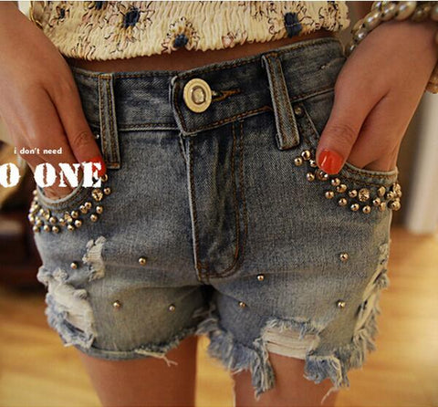 Beaded Casual Denim Shorts for Ladies - MyShimi.com