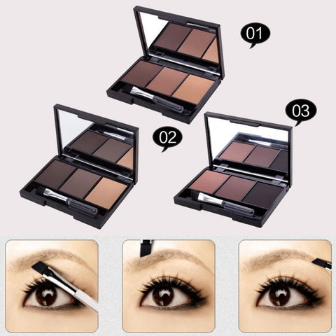Professional Kit 3 Color Eyebrow Powder Palette with Brushes - MyShimi.com