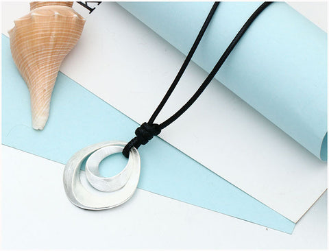 Black Leather  Necklace with Double Water Drop Pendant for Ladies - MyShimi.com