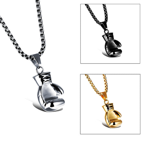 Stainless Steel Necklace with Mini Boxing Glove Pendant - MyShimi.com