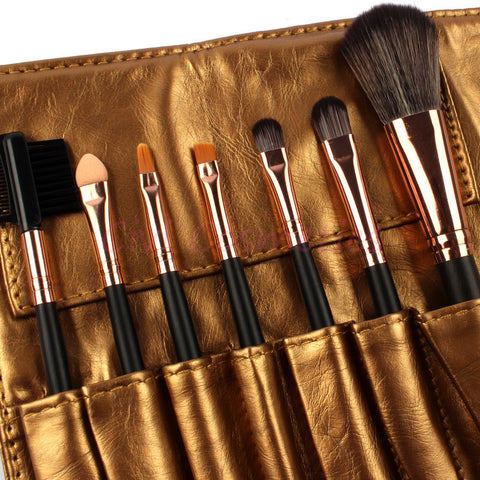 7-Piece Essential Makeup Brush Set with Golden Wrap Pouch - MyShimi.com