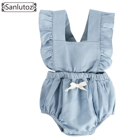 Ruffle Cotton Baby Jumpsuit Clothes With Ribbon
