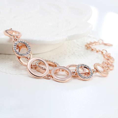 Rhinestones Double Layer Bracelet in Rose, Gold or Silver - MyShimi.com