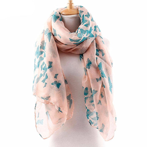 Soft Long Cotton Scarves / Neck Wrap with Butterfly Print