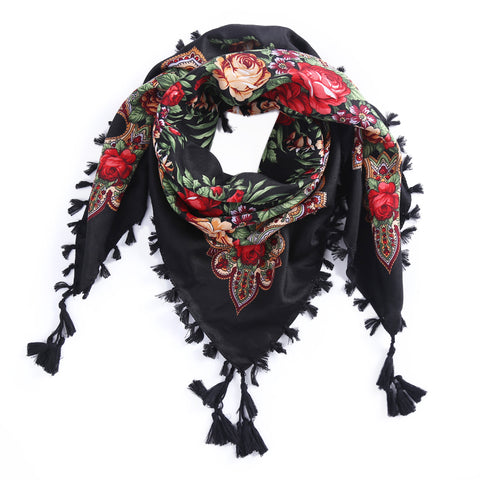 Stylish Russian Print Scarf and Wrap with Tassel Edge  for Girls