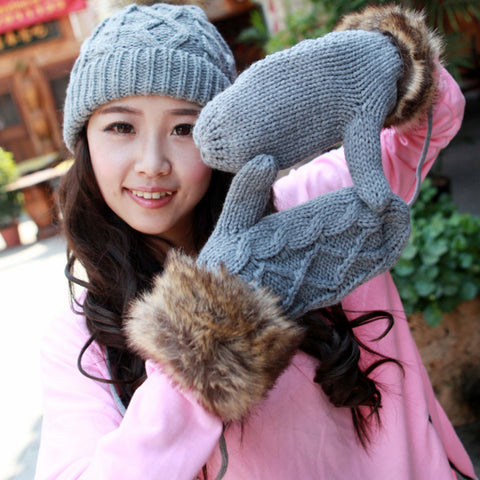 Winter Double Layer Thermal Gloves &  Hat
