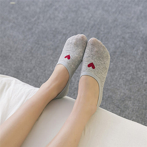 Cotton Invisible Socks in Heart Design for Women - MyShimi.com