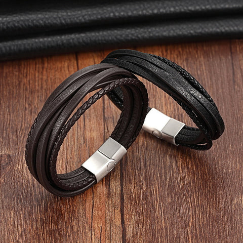 Vintage Leather Bracelet with Stainless Steel Clasp for Men