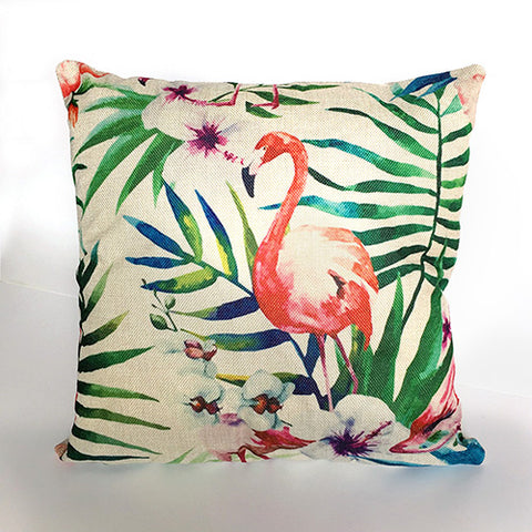 Tropical Pattern Linen Decorative Pillow Case - MyShimi.com