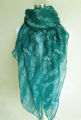 Elegant Long Scarves with Music Note Prints - MyShimi.com