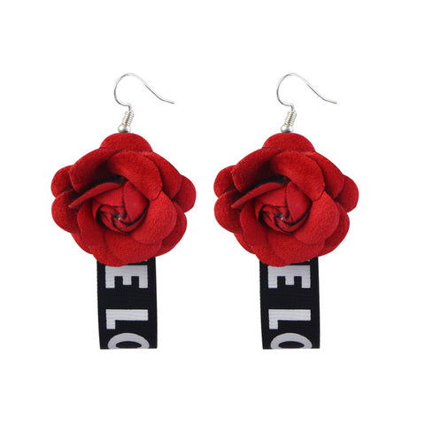 Fabric Flower Drop Earrings For Women - MyShimi.com
