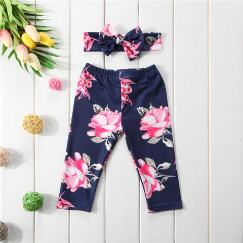 Cute Baby Girl Floral Pants with Free Ribbon Designed Headband - MyShimi.com
