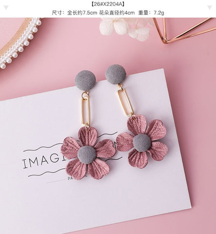 Fabric Earrings in Pink Heart and Floral Drop Design - MyShimi.com
