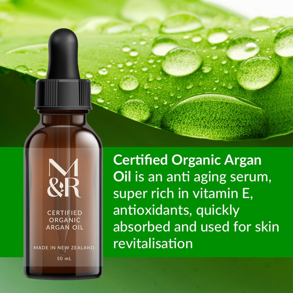 M&R Essentials Certified Organic Argan Oil is part of our organic skin care range. It is an anti ageing serum, super rich in vitamin E, antioxidants, quickly absorbed and used for skin revitalisation.